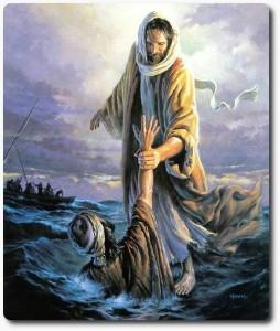 Jesus ergreift die Hand von Petrus